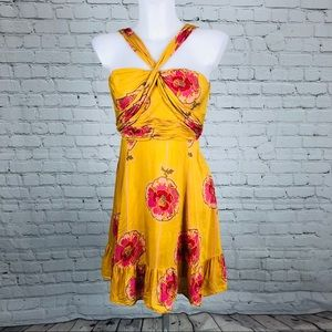 Free People Silk Poppy Halter Twist Dress Sz 2